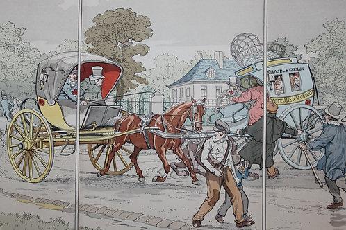 La Locomotion estampe aquarellée Eugène Courboin