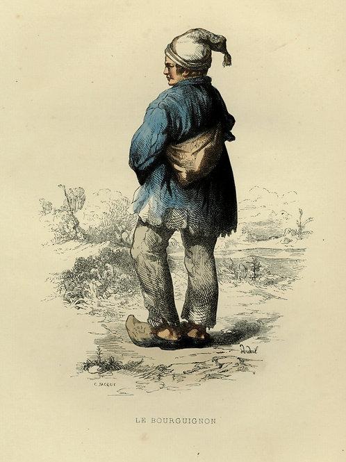 1842 LE BOURGUIGNON BOURGOGNE Les Français gravure estampe aquarellée époque