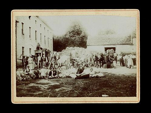 1900 scène de battage agriculture paysan bourgogne côte d'or