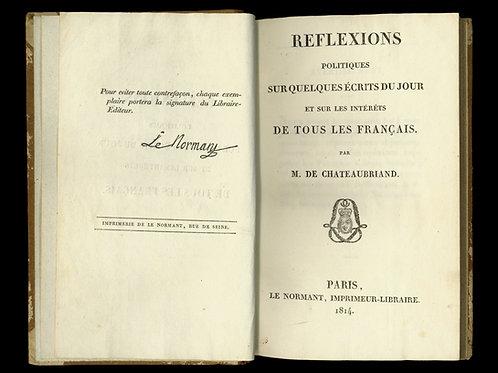 Chateaubriand. Réflexions politiques (1814). EO. Reliure d'époque. Bel ex.