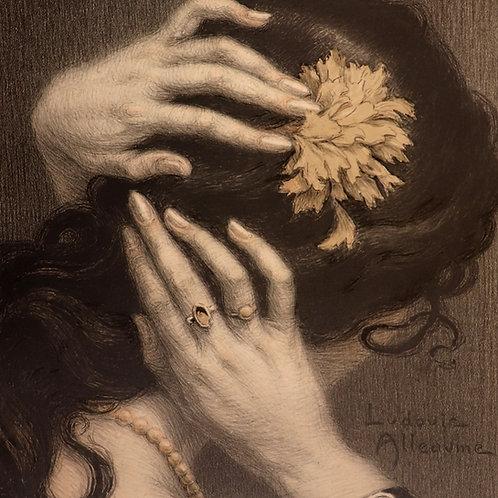 Ludovic Alleaume. 1905-1910. Mains de femme. Lithographie originale signée