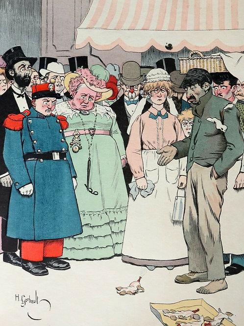 1900 CARICATURE HUMOUR par Henry GERBAULT Tirage RARE à 25 exemplaires JAPON
