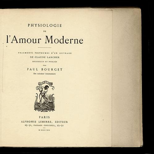 La Physiologie de l'Amour Moderne par Paul Bourget (1891). 1 des 15 ex. Japon