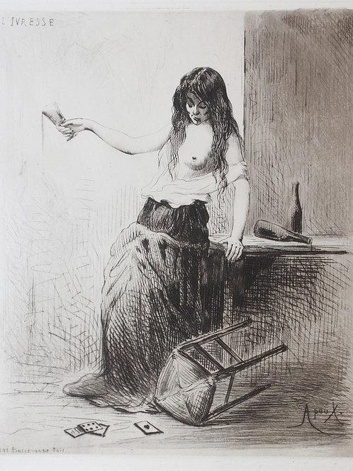 Joseph Apoux. Eau-forte originale. Ivresse. Vers 1880-1890. Papier vergé
