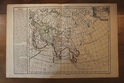 1765 1770 Map Carte géographique Atlas Philippe Prétot Moithey Asia Asie India