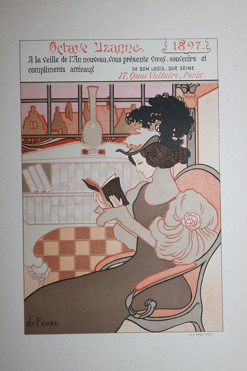 Georges de Feure. Octave Uzanne. Lithographie originale (1897)