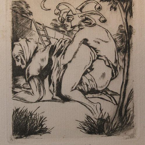 Ernst Gerhard (Berlin ? 1925 ?). Suite de 5 eaux-fortes érotiques. Rarissime