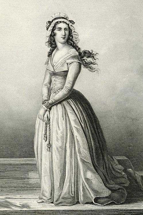CHARLOTTE CORDAY 1840 / 1850 Portrait révolution française Belle Gravure acier