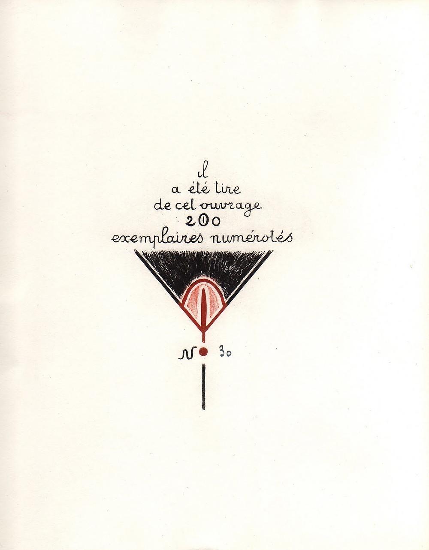 Achevé d'imprimer pour Chatteries, Estampes, Editions Lesbos vers 1933, ouvrage clandestin érotique illustré par Jacques Nam (attribué à)
