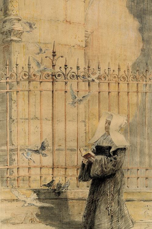 Charles Jouas. Dessin original. Soeur de Saint Paul de Chartres 23 x 38 cm.