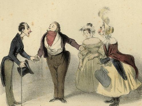 1839 Daumier Les Robert-Macaire Planche n°13 Caricature XIXe coloris époque rare