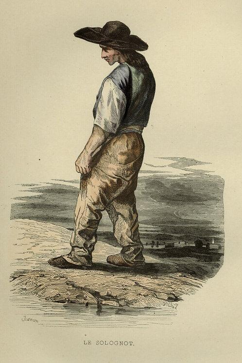 1842  LE SOLOGNOT SOLOGNE Les Français ... estampe gravure aquarellée époque