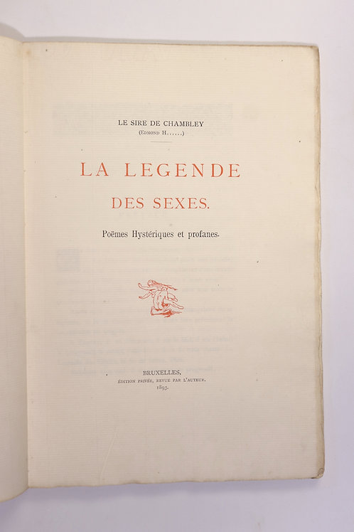 Edmond Haraucourt. La Légende des Sexes (1893). Exemplaire unique 20 aquarelles