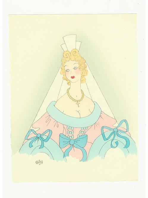 Albert DUBOUT illustration originale coloriée au POCHOIR pour Molière 1954 Déco