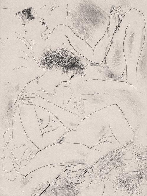Marcel Vertès (vers 1930). Pointe sèche originale érotique. Après l'amour ...