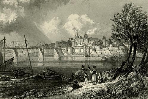 1856 Bords de Loire Gravure sur acier tirée sur chine contrecollé Ancenis