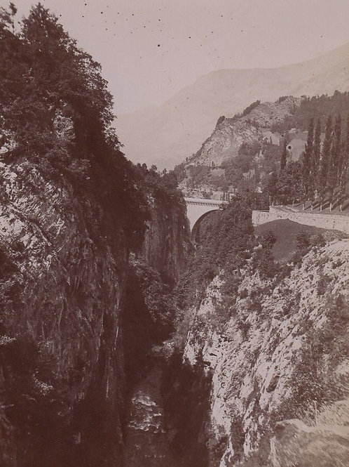Photographie ancienne 1899 Pont Napoléon sur Gave Pau Hautes Pyrénées Montagne