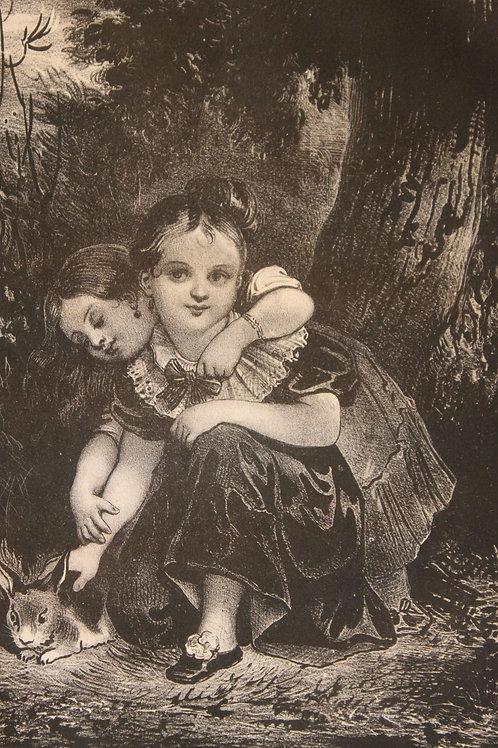 """Lithographie originale 1829 Achille Devéria """"Le petit lapin"""" Romantisme enfantin"""