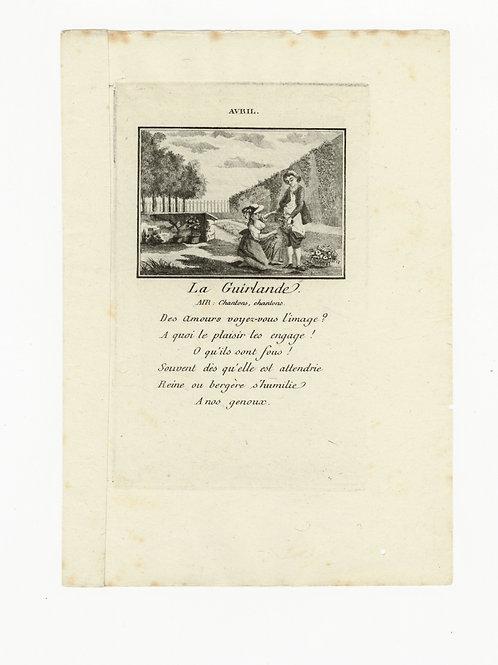 Année Galante ou Etrenne de l'amour (1871, 1773). Rare suite de 12 cuivres