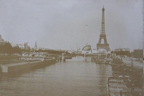 Paris 1900 Photographie ancienne Exposition Universelle Tour Eiffel Globe Seine