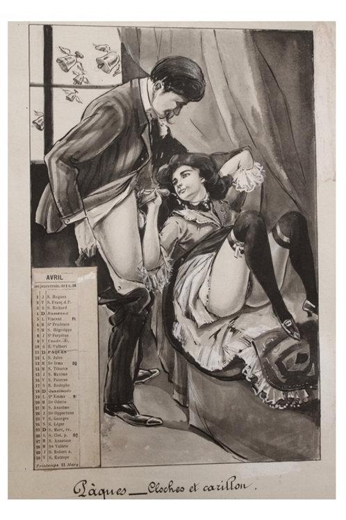 [Paul Avril, attribué à]. Calendrier pornographique (1909). Unique