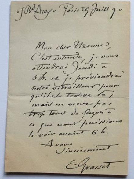 Lettre de Eugène Grasset peintre décorateur à Octave Uzanne 1890