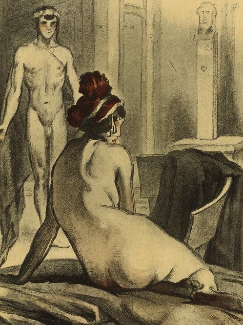 MARCEL ROUX estampe ancienne 1922 curiosa erotica l'Âne de Lucius