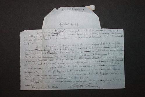 Jean Lorrain. Lettre signée écrite par sa mère 16 février 1904 à Maurey