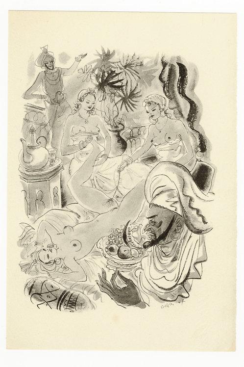 Estampe érotique par Schem (Raoul Serres). Vers 1947. N°8