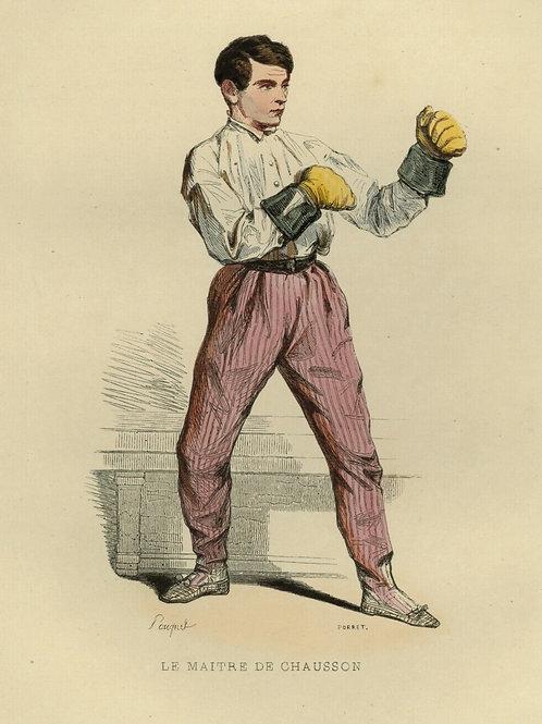 1842 LE MAÎTRE DE CHAUSSON BOXE Les Français gravure estampe aquarellée époque