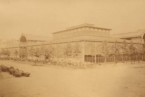 """Photographie ancienne. Les grandes Halles de Paris (1875). """"Le Ventre de Paris"""""""