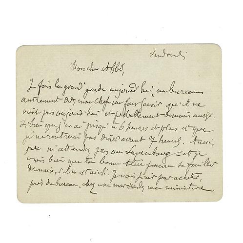 J.-J. Huysmans. LAS Lettre autographe signée à l'Abbé Munier. S.d.