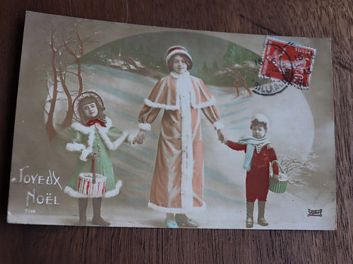 CPA fantaisie Joyeux Noël 1913 Mère Noël enfants