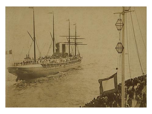 Photographie originale. Steamer La Bourgogne CGT Le Havre 1886 1898. Rare