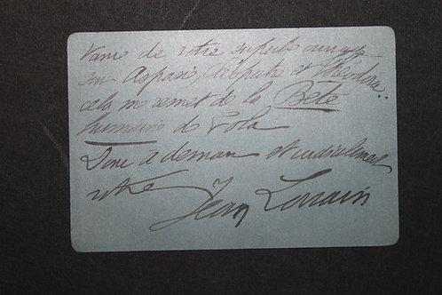 Jean Lorrain. Lettre autographe signée à Henri Houssaye