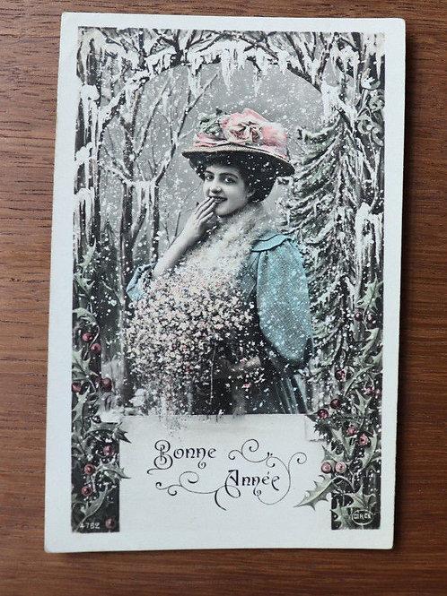 CPA fantaisie photo Bonne année femme rétro mode 1911