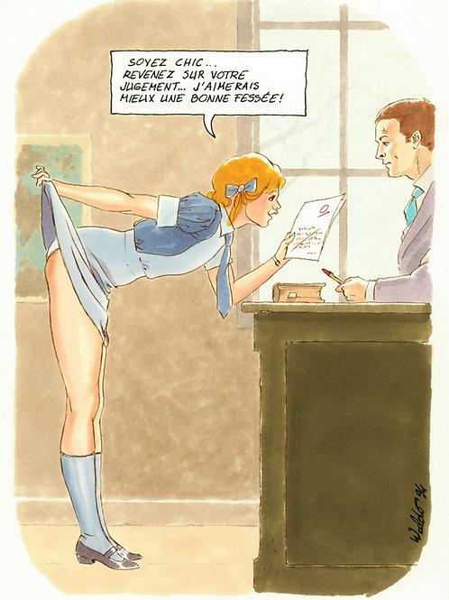 Waldo. 1994. Dessin original érotique (au bureau du professeur). BDSM Spanking.