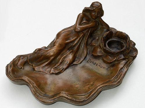 Encrier 1900 style Art Nouveau signé F. Perrot Botteaux