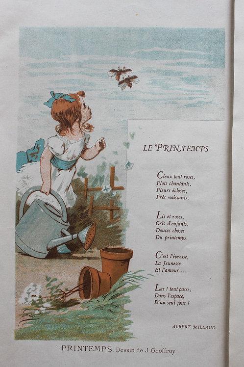 Les 4 saisons chromolithographies par J. Geoffroy 1882
