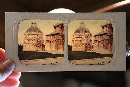 Photo ancienne stéréoscopique vers 1860 / 1870 Italie Italy Baptistère de Pise