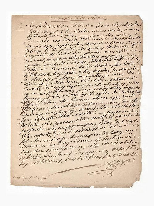"""Barère de Vieuzac. Manuscrit autographe """"Des peuples et des nations"""". Révolution"""