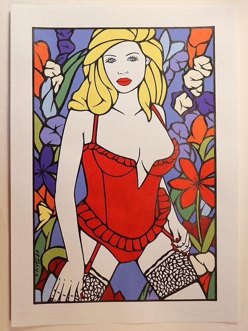 """Sophie Dumont. Dessin original sexy 26,5 x 17 cm acrylique et stylo """"JULIETTE"""""""