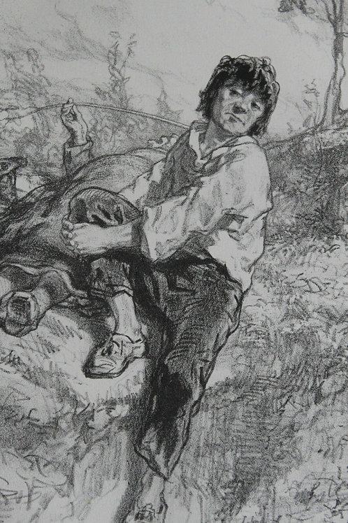 GAVARNI Lithographie originale série PAR-CI PAR-LA Un ténor incompris