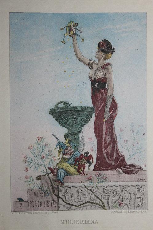 Félicien Rops. Mulieriana ou la Dame au Pantin (1884). Héliogravure