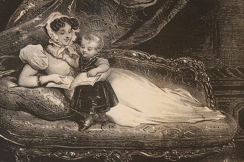 """Lithographie originale 1829 Achille Devéria """"Les premières lettres"""""""