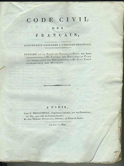 Code civil des Français (1804). Rare et belle édition in-4