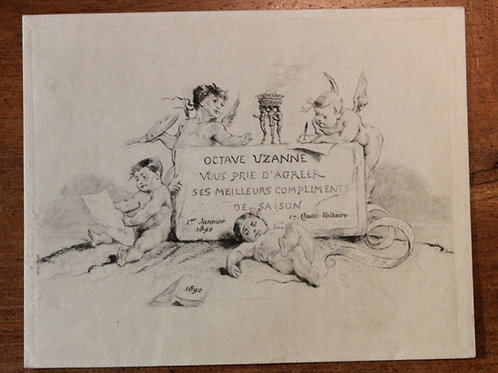 Carte de voeux pour Octave Uzanne (1892). Félicien Rops