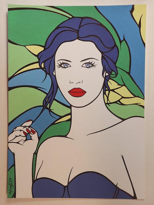 """Sophie Dumont. Dessin original sexy 29,5 x 21 cm acrylique et stylo """"CELIA"""""""