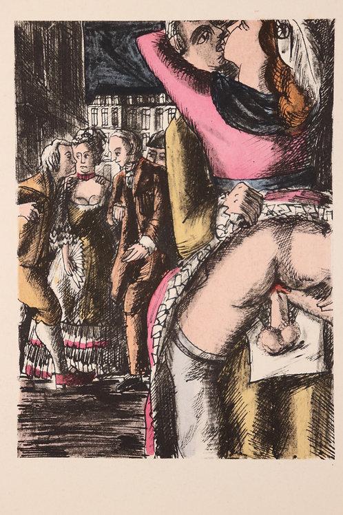 Estampe érotique aquarellée. Marquis de Sade (120 journées). Vers 1940
