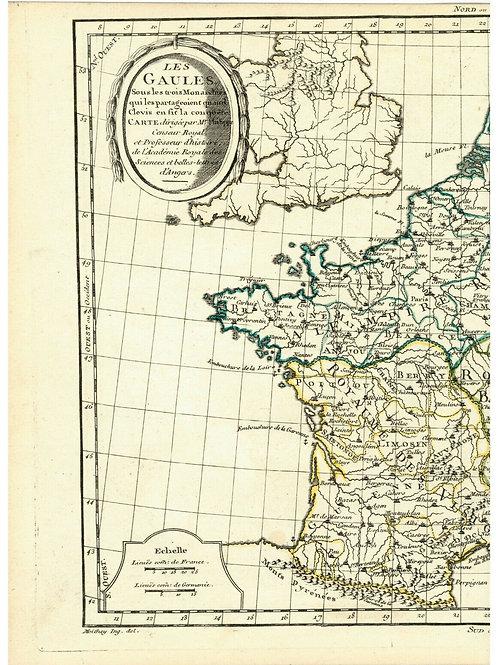 1775 Map Carte géographe Atlas France Les Gaules sous Clovis Moithey Vallet